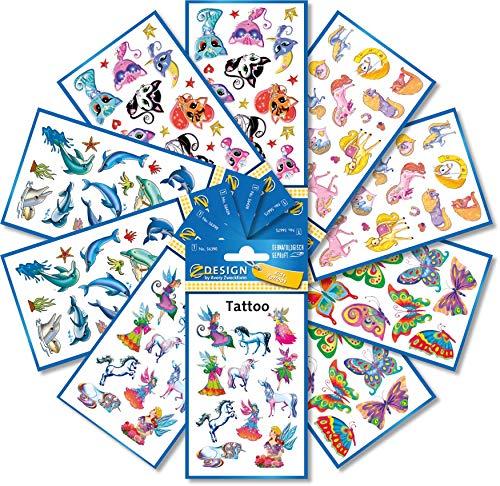 AVERY Zweckform 96 Tattoos für Mädchen (Tattoo Set Kinder, temporär, wasserfest, Klebetattoos, Kindergeburtstag, Mitgebsel, Partyspiele Preise, Schnitzeljagd, Kinder zum Spielen, Geschenke) 59996