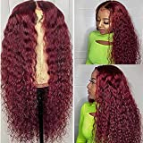"""Lace Front Wig Kinky Curly Red 13x1 Middle Part Lace Front Wigs Human Hair Burgundy Color Brazilian Virgin Human Hair Wigs 99J Deep Wave Pre Plucked With Baby Hair for Women 18"""" 150% Density"""