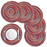 """Homaxy Summer Colorful Round Braided Placemats for Dining Table Set of 6 - Woven Heat Resistant Non-Slip Kitchen Table Mats, 14"""" Diameter, Rainbow-Red"""