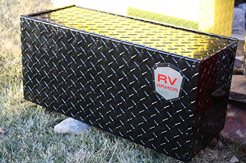 27' RV Battery Lock Box - Aluminum Diamond Plate- Gloss Black