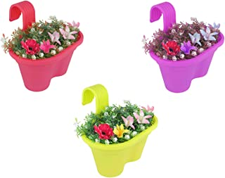MB Traders Double Hook Railing Planter Hanging Flower Pot (12 Inch, Multicolour, Set of 3)