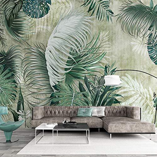 AMTTGOYY Papel tapiz fotográfico para paredes de dormitorio 3D pintado a mano hojas de plantas moderno mural nórdico sala de estar comedor revestimiento de paredes-250x175cm