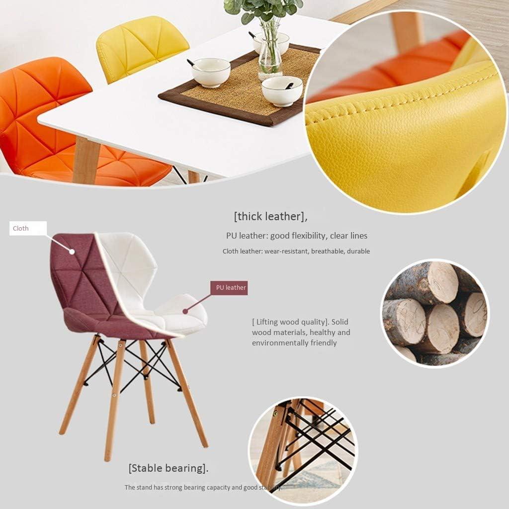 Rétro Chaise dîner Grain position cuir souple cas Sitting Pieds bois massif naturel et cadre métal robuste dos papillon confortable chaise cuisine (Color : Red) Yellow