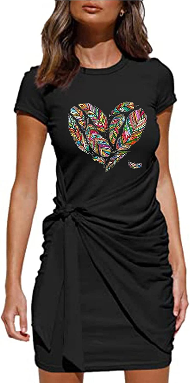 ESULOMP Summer Women Tunic Dresses Casual Short Sleeve O-Neck Graphics Printed Bowknot Belted Irregular Mini Dress