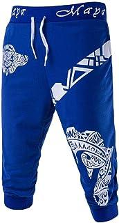 939f9030116 iLXHD Men s casual pants Fashion New Pants Drawstring Elastic Waist  Printing Loose Sports Pants Calf-