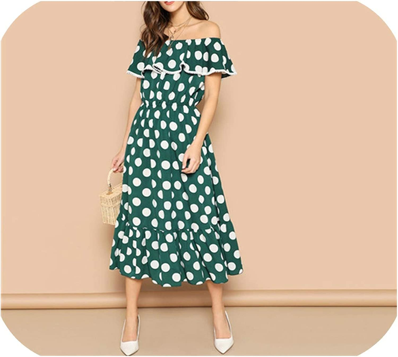 Mamamoo Bohemian Green Polka Dot Ruffle Hem Off The Shoulder Shift Dress Long Streetwear Elegant Dresses
