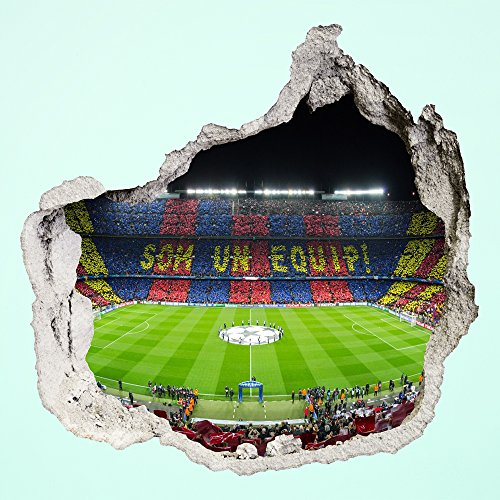 PROXTA Wandtapete 3D - Wall Magic 100 x 120 cm - CAMP NOU - Selbstklebende 3D-Tapete aus Vinyl Wand-Aufkleber Loch in der Wand Illusion Wandtattoo Wandsticker