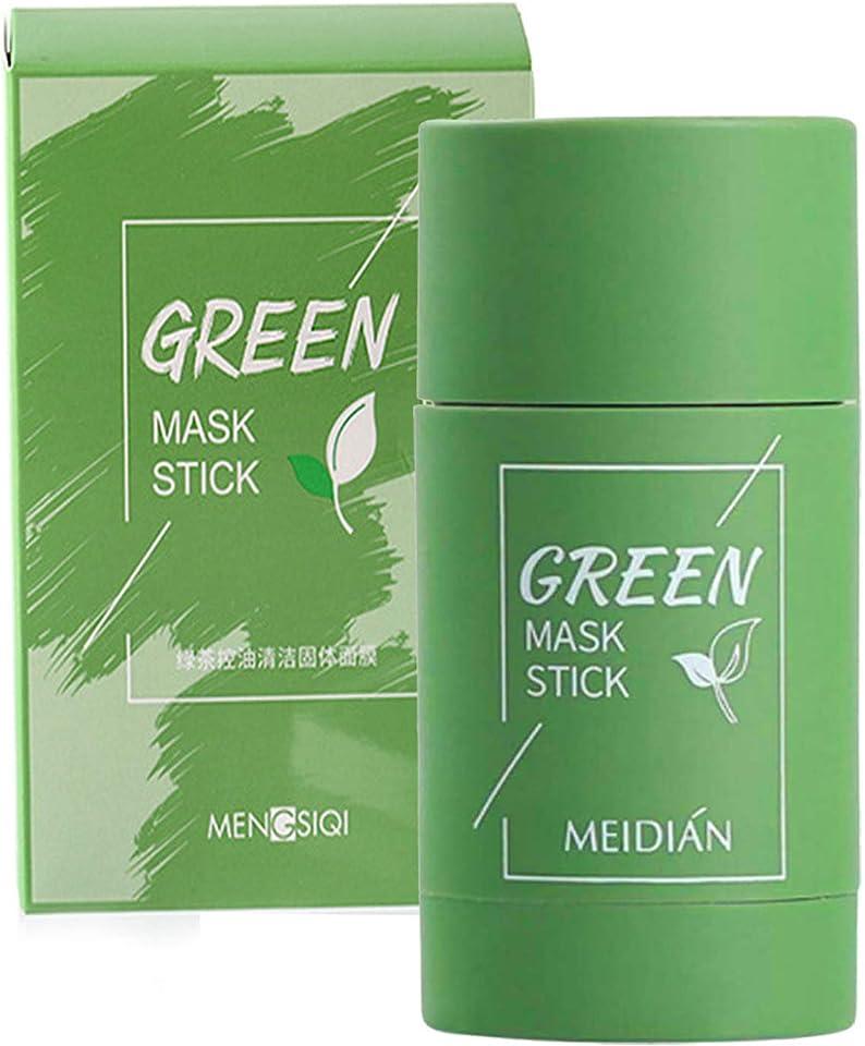 Grüner Tee Purifying Clay Gesichtsmaske Stick, Deep Cleansing Oil Control Anti-Akne-Maske, Feuchtigkeitsspendender Mitesserentferner Gesichtsmaske reparieren und Poren schrumpfen