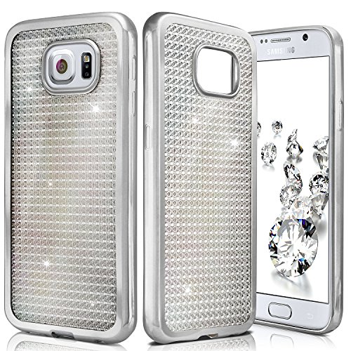 ONEFLOW Samsung Galaxy S6 | Hülle Glitzer Silber Silikon Shiny Back-Cover Silikonhülle Glitter Schutzhülle Ultra-Slim Case für Samsung Galaxy S6 Handy-Hülle Dünn Tasche