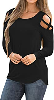 Womens Strappy Cold Shoulder Tops Casual Tees Loose Basic T Shirts