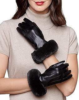 frr Leather Glove with Rex Rabbit Fur Cuff