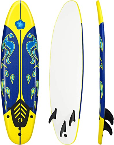 lowest Giantex 6' Surfboard Surfing Surf Beach discount Ocean Body Foamie Board with Removable Fins, Great Beginner Board popular for Kids, Adults and Children outlet sale