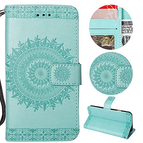 Sycode Galaxy Note 8 Wallet Hülle,Galaxy Note 8 Ledertasche,Totem Blumen Grün PU Leder Brieftasche für Samsung Galaxy Note 8-Grün