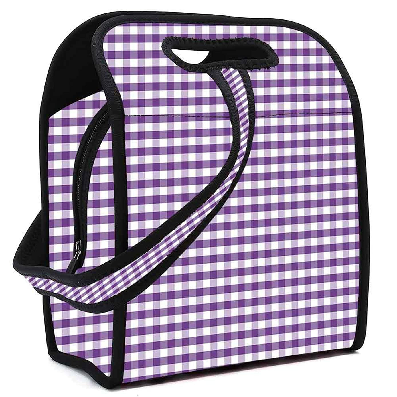 Checkered Waterproof Neoprene Lunch Bag,Purple and White Colored Gingham Checks Rows Picnic Theme Vintage Style Print Decorative for Commercial Takeaway Barbecue,Square(8.5''L x 5.5''W x 11''H)
