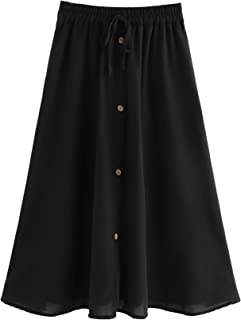 SheIn Women's A Line Drawstring Elastic Waist Single Breasted Pleated Midi Skirt