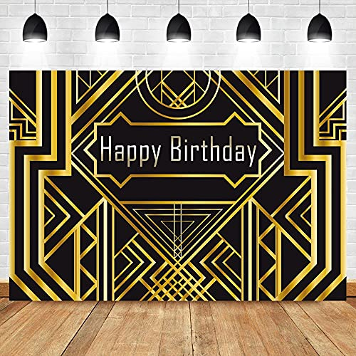 Fondo de Feliz cumpleaños Fondo de Oro Negro Banner Fondo de Estudio fotográfico de Ducha de bebé recién Nacido A1 10x7ft / 3x2.2m