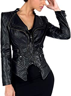 DISSA PWA11 Women Faux Leather Biker Jacket Slim Coat Leather Jacket