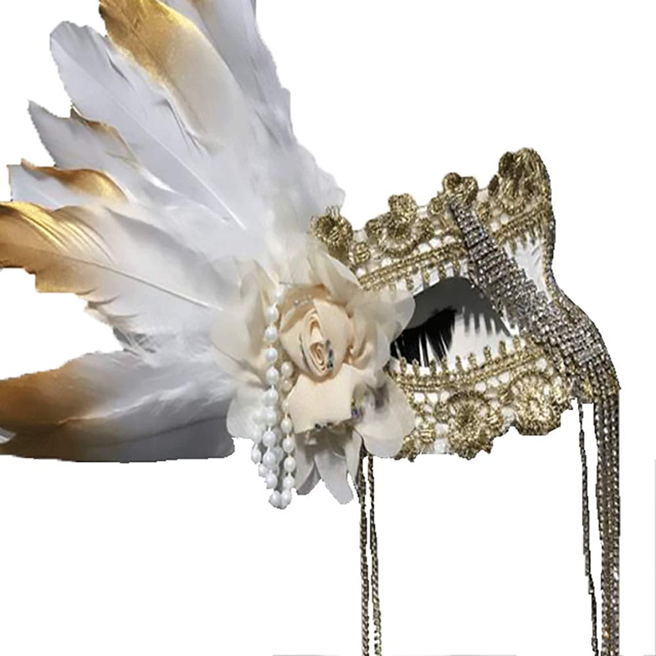 臭い滝マーケティングNanle ハロウィーンのラインストーンフリンジフェザー刺繍花マスク仮装マスクレディミスプリンセス美容祭パーティーデコレーションマスク