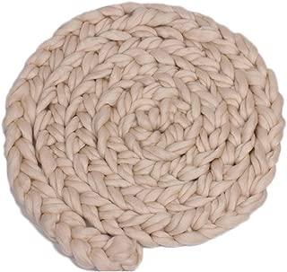 Mantas de bebé tejidas a mano Manta de bebé de ganchillo de lana Recién nacido Trenza trenzada Accesorios de fotografía Manta de punto grueso Relleno de cesta