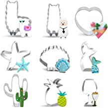 9PCS Cookie Cutters - Llama Cactus Mermaid Pineapple Starfish Seashell Stainless Steel Cutters Molds, Cookie Cutter Set fo...