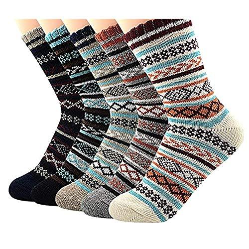 Century Star Mens Athletic Socks Retro Thick Warm Soft Wool Socks Sports Knit Pattern Winter Socks Crew Socks 5 Pairs Diamond NEW One Size