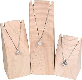 BOCAR 3PCS Natural Wood Necklace Display Stand Organizer Holder (MT-DZ) …