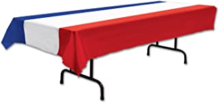 (140cm x 270cm , Red, White, Blue) - Beistle Patriotic Tablecover (red, white, blue) Party Accessory (1 count) (1/Pkg)