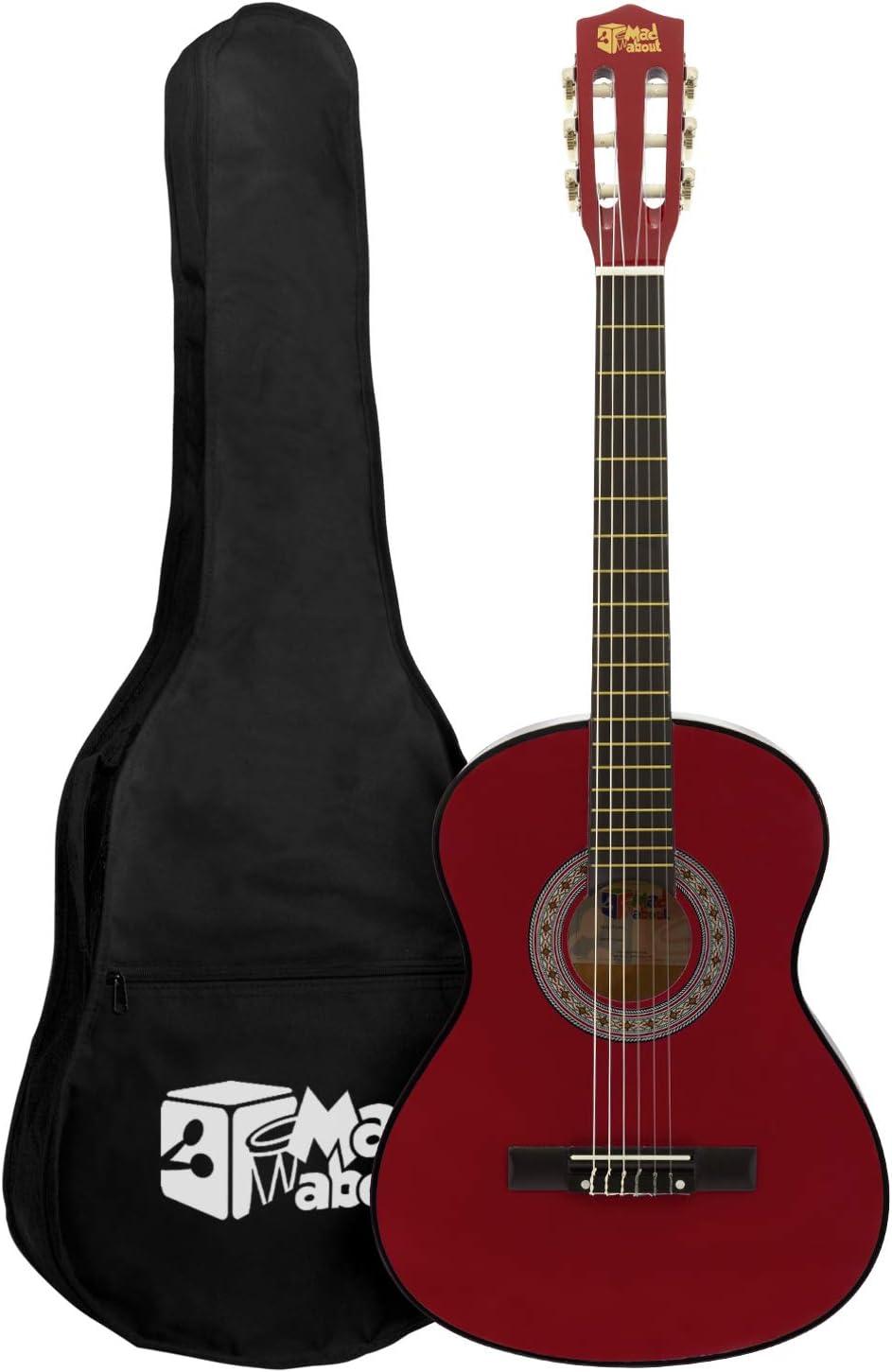 Mad About Ma-Cg08 Guitarra Clásica 1/2 Tamaño Rojo Guitarra Clásica - Colorida Guitarra Española con Bolsa de Transporte, Correa, Púas y Cuerdas de Repuesto