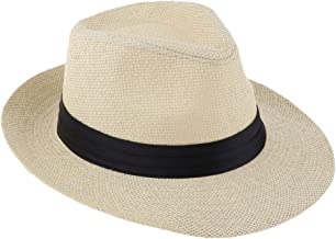 MagiDeal Hombres Mujeres Sombrero De Paja De Panamá Sombrero Fedora Trilby Sombrero Sombrero para El Sol ala Ancha