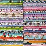yiban 50枚 花柄 はぎれ 布 セット パッチワーク用 コットン 生地 ハンドメイド 手芸 可愛い布地 福袋 30×30cm