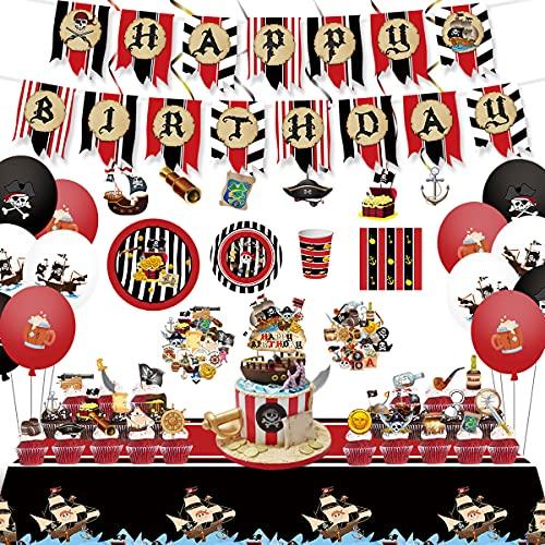 Pirate Décoration Anniversaire 156PCS Thème Pirate Comprend Bannière,Nappe,Ballons,Tourbillons suspendus,Assiettes,Serviettes,Décorations de Gâteau ,Autocollants,Kit Déco Anniversaire Garçon Fille