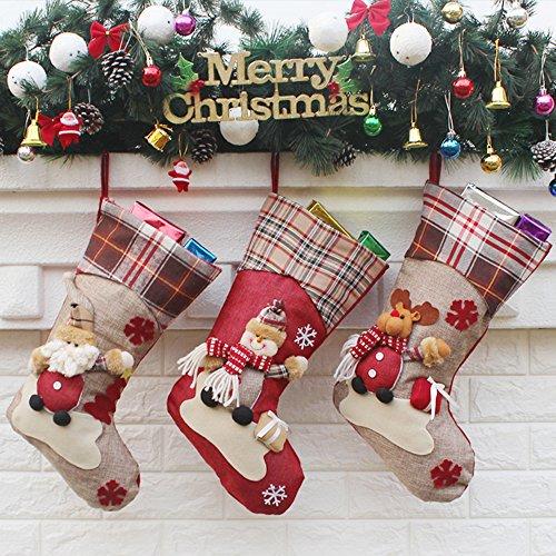 Decdeal 3pcs/set Natale Calze Santa Regalo Caramelle Sacchetti di Natale Decoartions Ornamenti Pupazzo di Renna