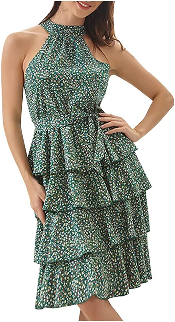 Toeava Dresses for Women Casual Summer Floral Print Mini Dress Hanging Neck Sleeveless Short Mini Beach Party Dress
