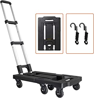 Pansonite Folding Luggage Cart with 330 Lb Capacity, Portable Aluminum Hand Truck and Dolly with 7 Wheels and 2 Free ropes for Luggage, Travel, Moving, Shopping and Office Use
