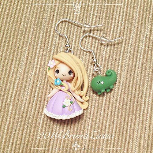 Orecchini Chibi Rapunzel ~ Cute Disney Earrings Fimo Polymer Clay Kawaii tiny Princess Principessa Fiori Bambina Regalo Handmade Pascal