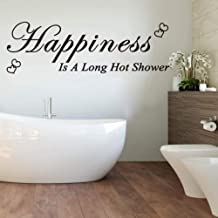 Fifikoj Wall Sticker Happiness is A Long Hot Shower Heart Wall Decal Bathroom Washroom Happiness Quote Wall Sticker Lavatory l Home Decor56x18cm