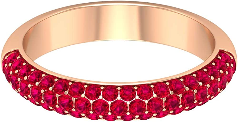 1 CT Lab Created Ruby Ring, Half Eternity Band, Ruby Cluster Ring, Gold Band Ring, Wedding Anniversary Rings, 14K Gold