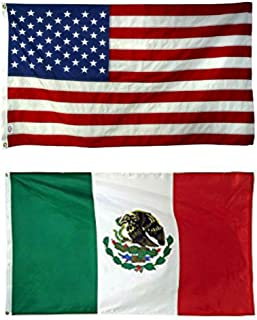 ALBATROS 2 ft x 3 ft 2x3 USA American with Mexico Mexican Flag Banner Grommets for Home and Parades, Official Party, All Weather Indoors Outdoors