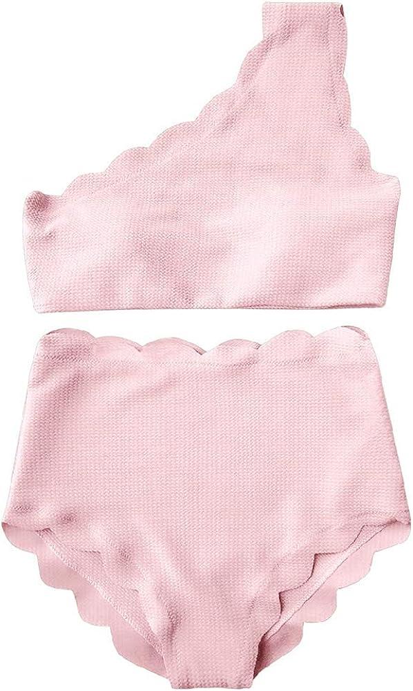 Womens Bikini Set Two Pieces Solid Color One Shoulder High Waist Summer Beach Swimwear