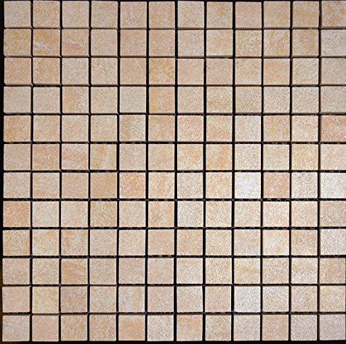 Feinsteinzeug Mosaik R11 beige mix 2,3x2,3x1,0cm, 1 Tafel Sonderposten MOSAKO