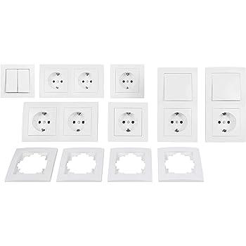 Interruptor y juego de enchufes Flair Sal/ón paisaje, 20/piezas color blanco