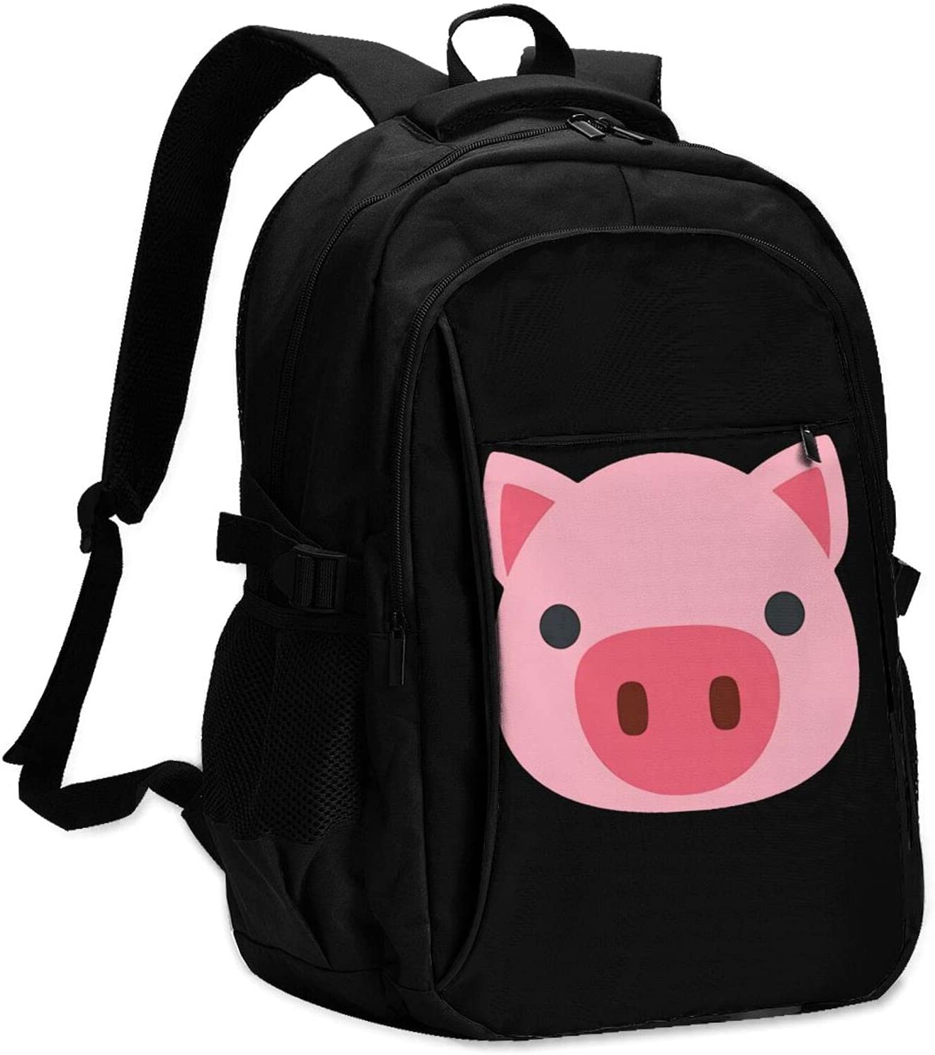 Pig Popular products 40% OFF Cheap Sale Face Backpack School Bag With Port Trav Charging Student Usb