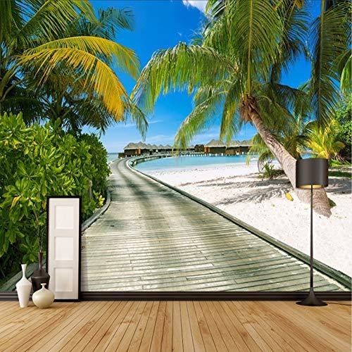 Zybnb Beach Sea View Fotografie Achtergrond Grote Muren 3D Kokosnoot Bomen Houten Brug Woonkamer Slaapkamer Achtergrond Fotobehang