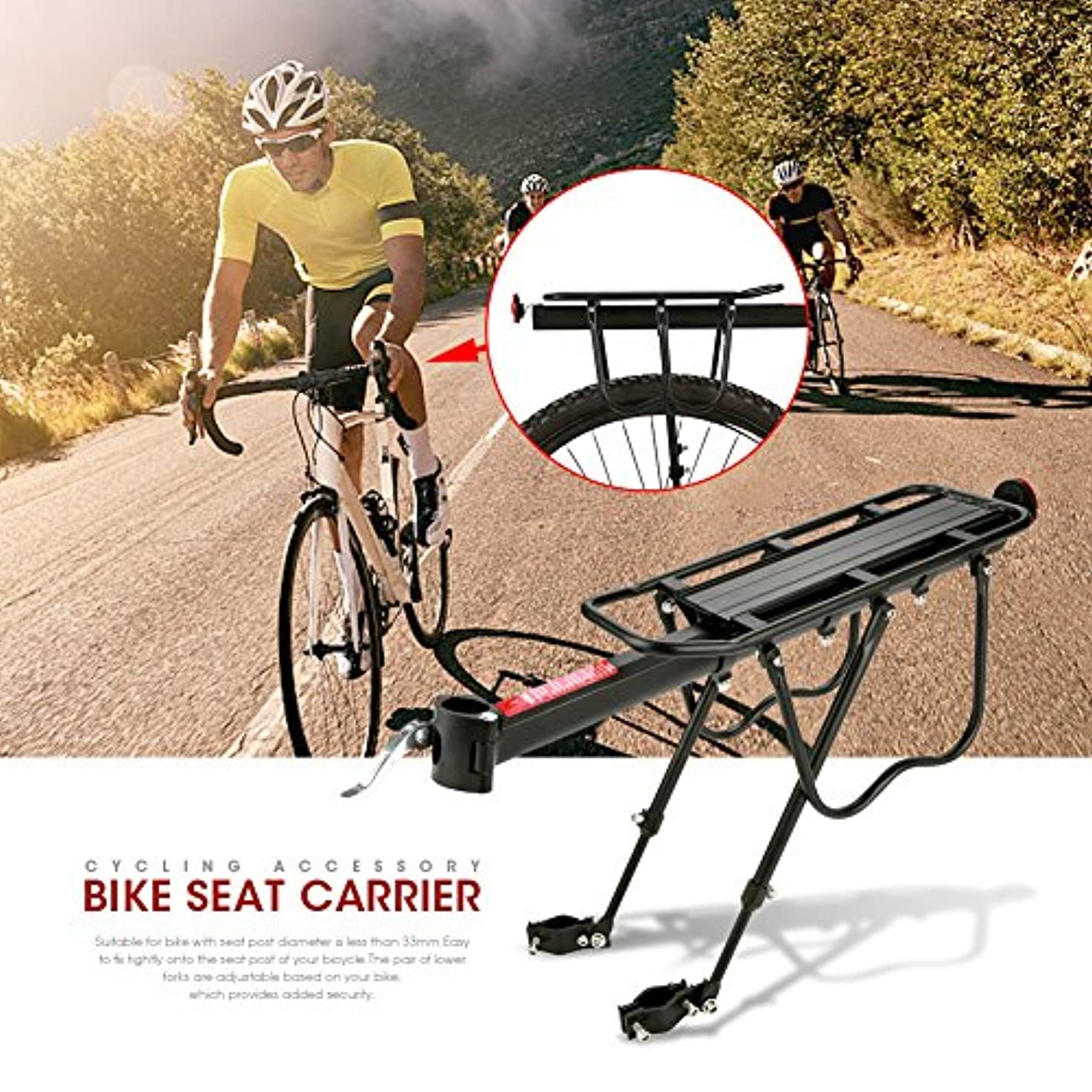 GOTOTOP Strong Alloy Rear Bicycle Pannier Bag Luggage Carrier Rack Bike Cycle Seat Post Black
