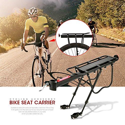 Zerone Bagagedrager achterzijde, mountainbike rek verstelbare bagagedrager fietshouder fietsaccessoires houder rijstok maximale belasting 25 kg aluminium Quick Mount (zwart)