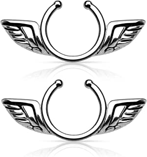 Angel Wings Non-Pierce No Pierce Fake Clip On Nipple Ring - Sold as a Pair