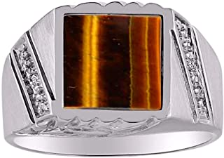 RYLOS Designer Ring With Diamonds and Onyx or Tiger Eye Set in Sterling Silver .925