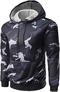Nansiche Men's Winter Casual Camouflage Pattern Pullover Hooded Fashion Sweatsuit Outwear Athletic Tops