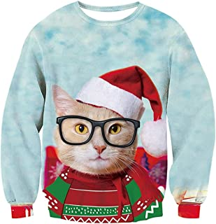 Jocome Women Funny Christmas Pullover Sweatshirts 3D Cat Printed Long Sleeve Shirts Ugly Christmas Sweater