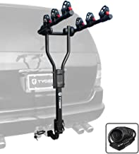 Tyger Auto TG-RK3B101S 3-Bike Hitch Mount Bicycle Carrier Rack | Free Hitch Lock & Cable Lock | Fits Both 1.25